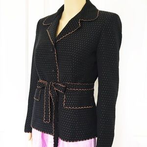 Nipon Boutique Scalloped edges with belt blazer